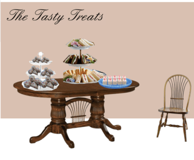 The Tasty Treat Tea Time Table with scones, petit fours and savory sandwiches.