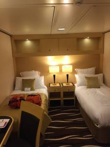 Our Interior Stateroom on the QM2 before the bunk was pulled down.