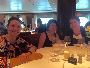 Enjoying a kid free dinner on the QM2 thanks to the night nursery.