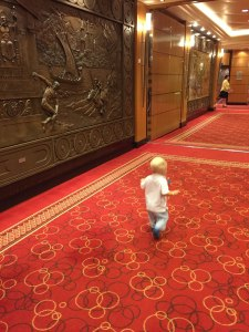 O's favorite activity, walking the halls of the QM2.