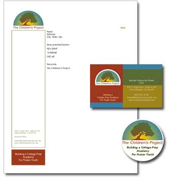 letterhead, business card and all-purpose sticker