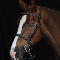 Collegiate Comfort Crown Fancy Stitched Raised Cavesson bridle in brown leather