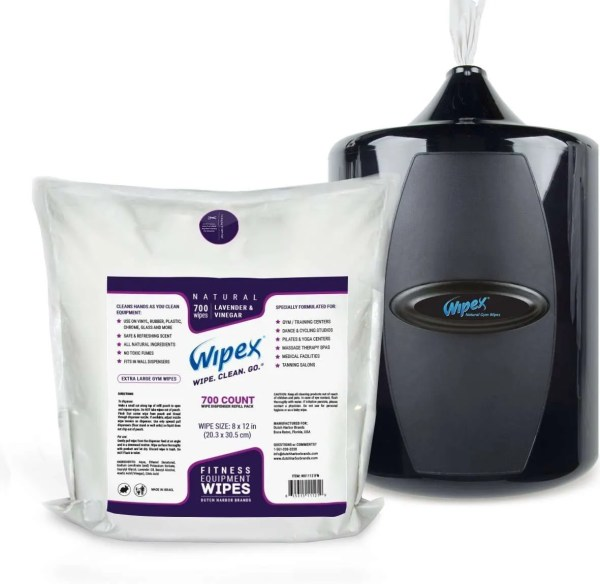 Wipex Gym & Fitness Equipment Wipes with Lavender & Vinegar Great for Peloton Bike Cleaning