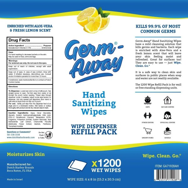 Germ-away brand antibacterial wipes for public areas helps protect against MERS coronavirus from wuhan China
