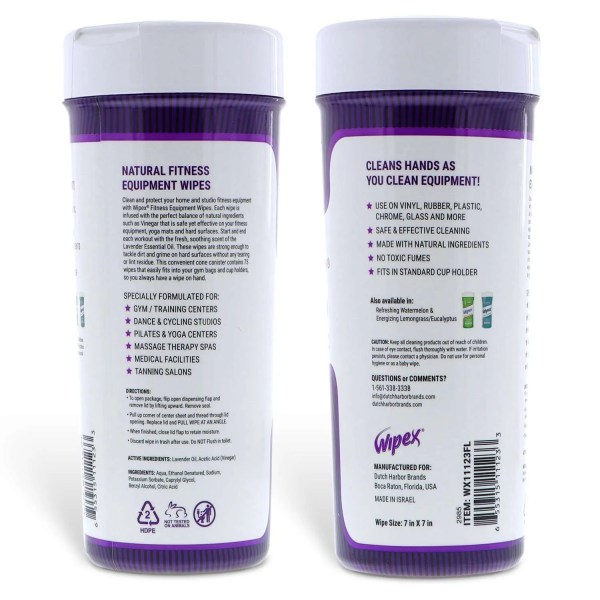 wipex fitness canister back side of label