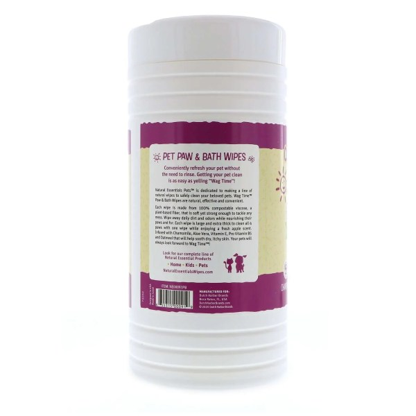 Natural Essentials Wag Time Paw and Bath Wipes - 100 Count Canister