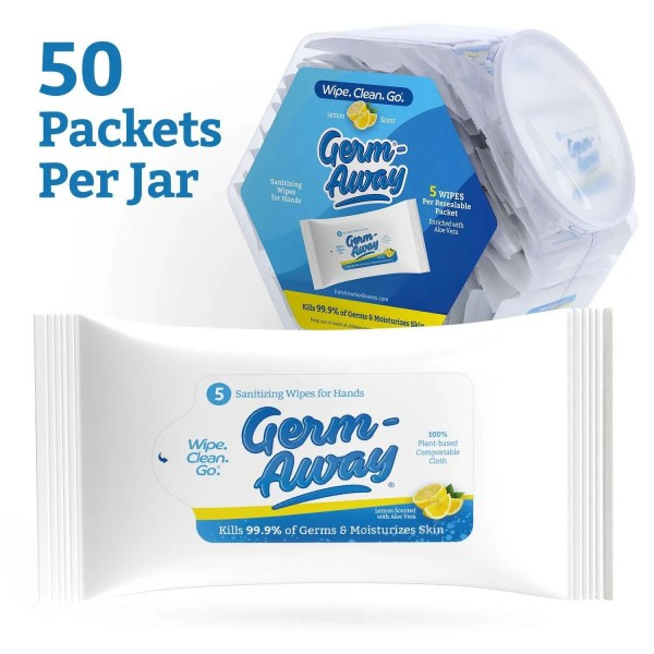 Germ-Away Hand and Face Antibacterial Hex Jar With 5 Count Packet - Lemon Scent