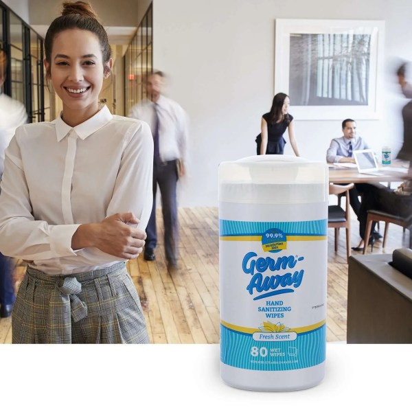 Germ-Away Fresh Scent 80 count canister in office