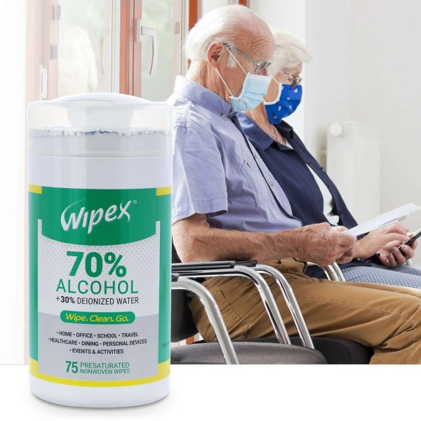 Wipex 70 percent alcohol wipes 75 count canister doctors waiting room
