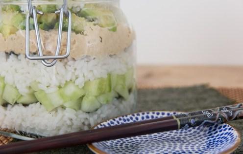 sushi salade in a jar