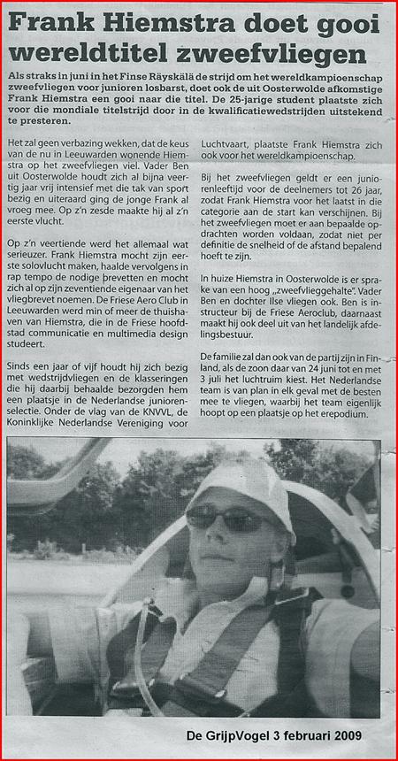 Krantenbericht Frank Hiemstra