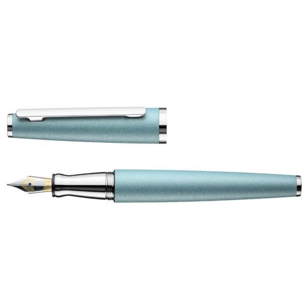 Otto Hutt_Design06_Artic Blue Matt Platinum_Fountain Pen