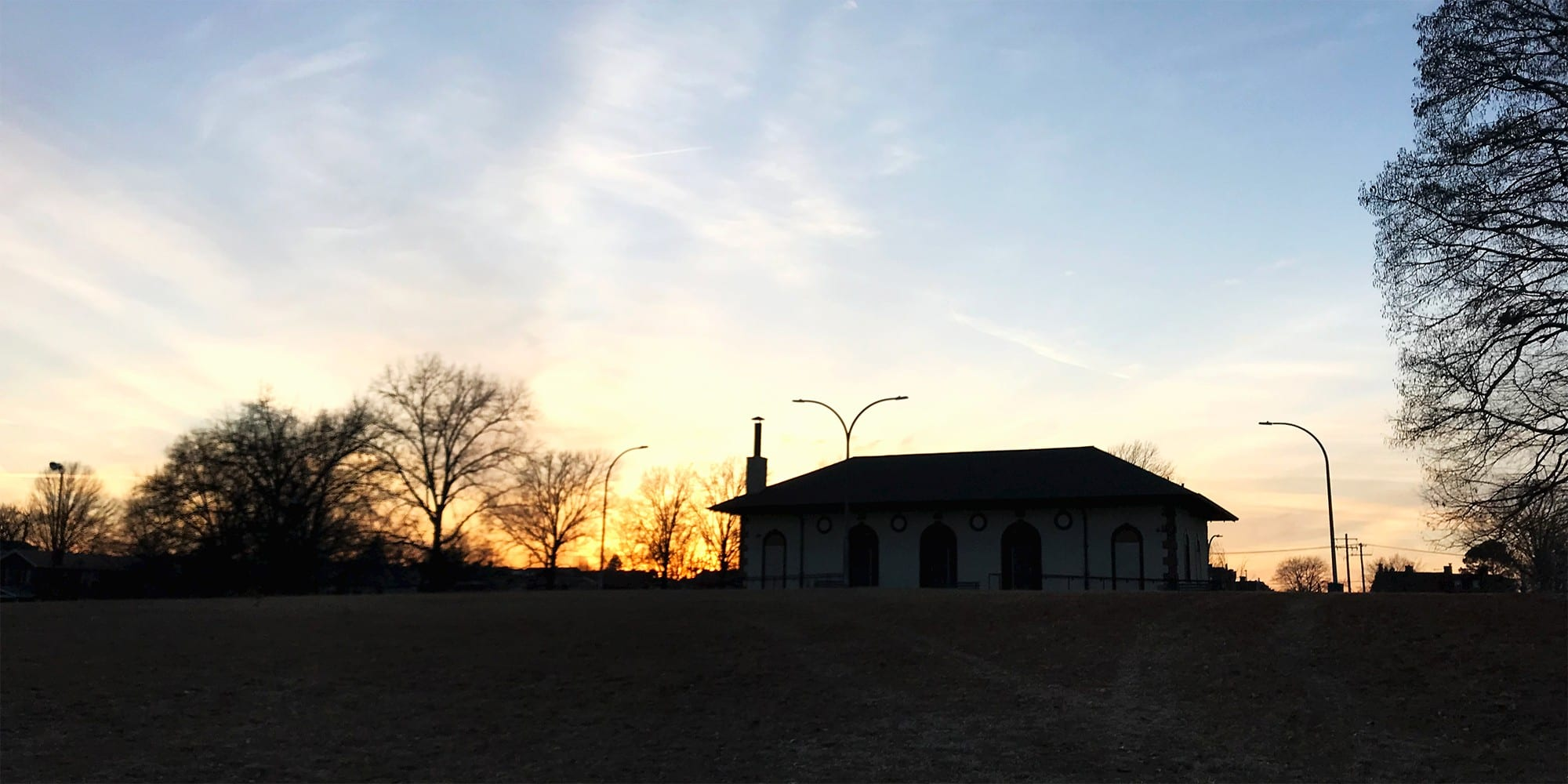 The Marquette Park Field House at sunset. Photo by Nick Findley.