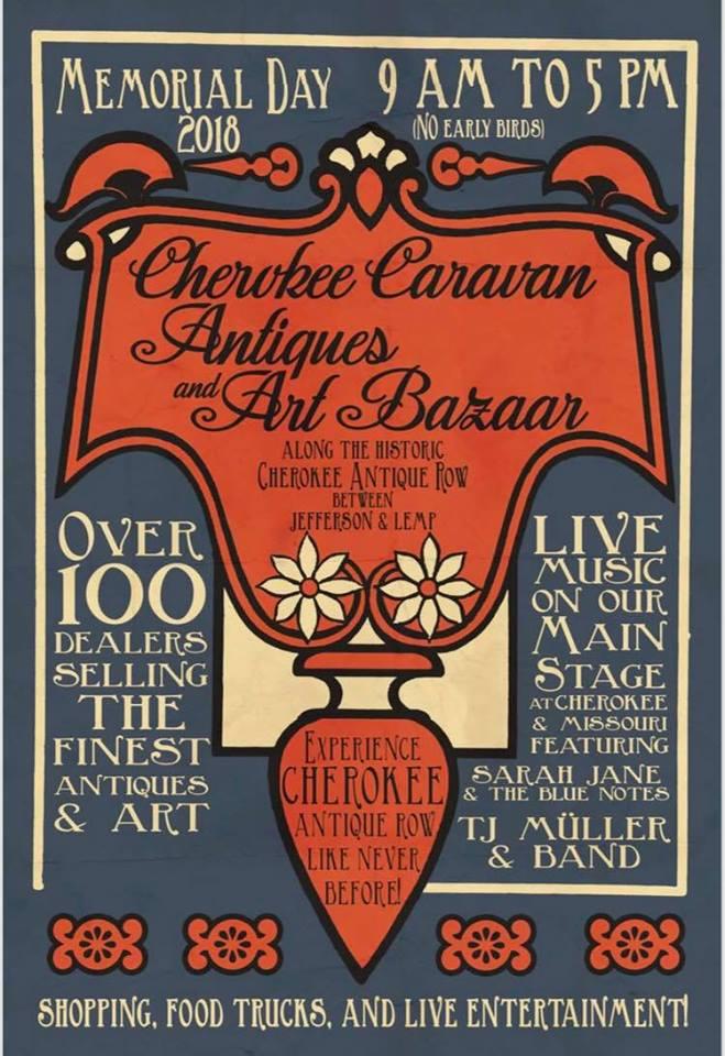 Flyer for Cherokee Caravan Antiques and Art Bazaar.