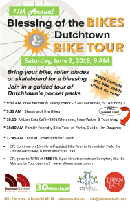 Flyer for the 2018 Blessing of the Bikes and Dutchtown Bike Tour.
