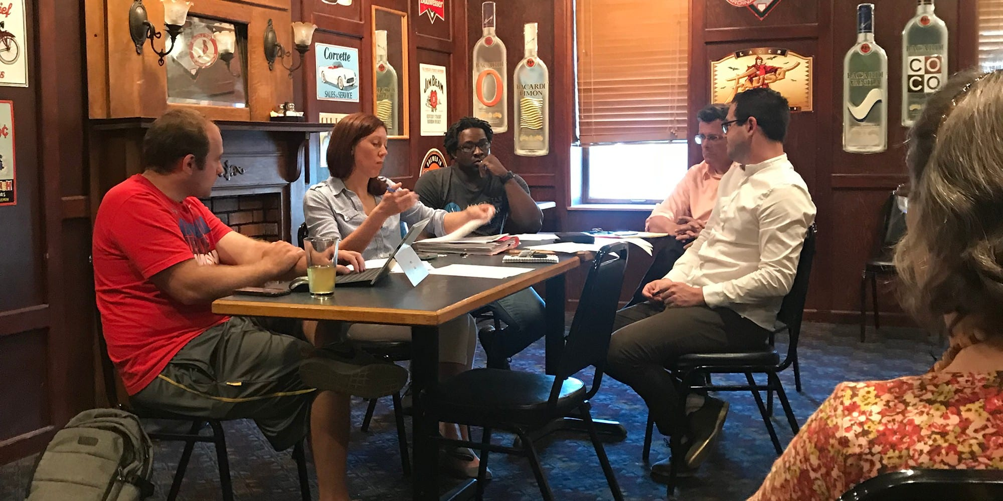 The Dutchtown CID Board of Directors meeting at Crusoe's on May 24th, 2018. Photo by Nate Lindsey.