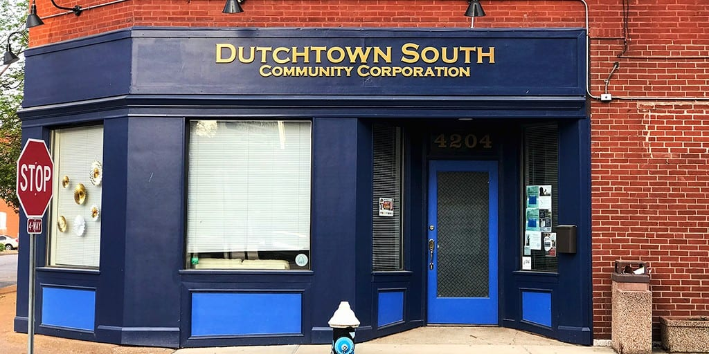 The new facade on Dutchtown South Community Corporation's building at 4204 Virginia. Photo by Nick Findley.