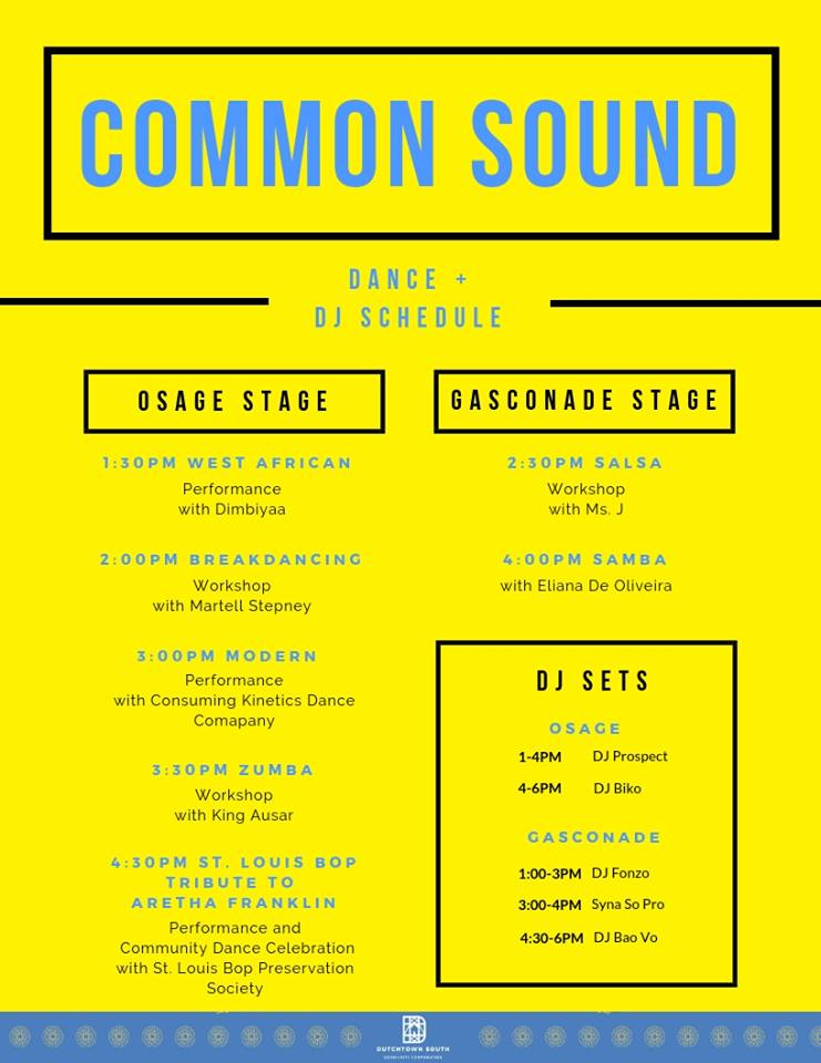 Common Sound Festival dance and DJ schedule.