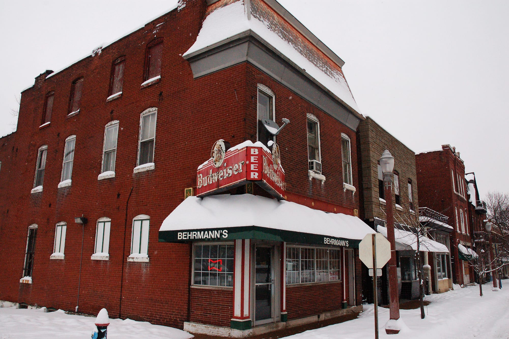 Behrmann's Tavern in the snow.