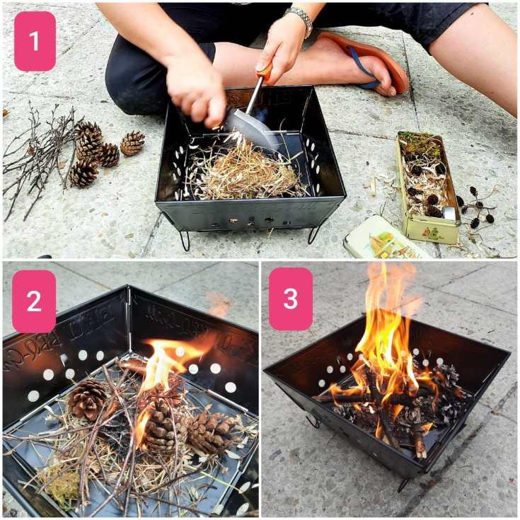 Vuur maken met zelfgemaakte tondel