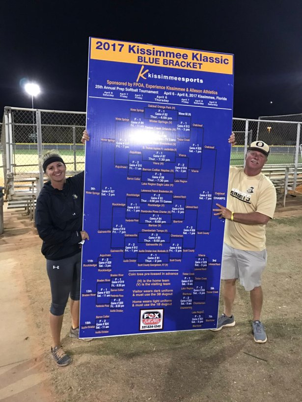 Oakleaf coaches Christina and Robbie Thompson hold up the bracket after winning the prestigious Kissimmee Klassic.