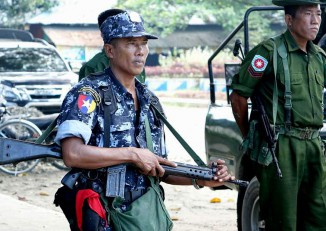 """Police and army personnel in Maungdaw Township, Arakan State, during a """"clearance operation"""" in the wake of attacks on border police on 9 October, 2016. (Photo: DVB)"""