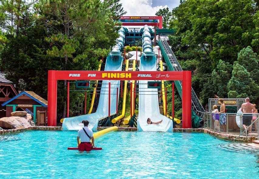 Blizzard Beach finish line of twin water slides.