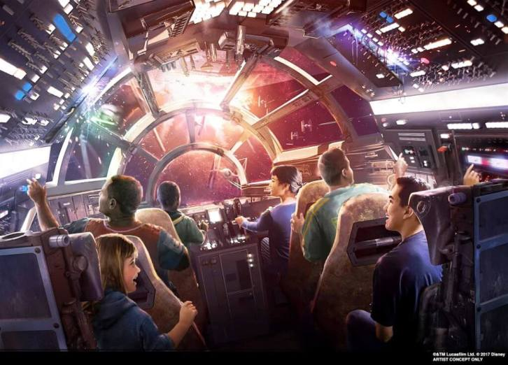 Star Wars Millennium Falcon Smuggler's Run artist's rendition of six guests piloting the ship.