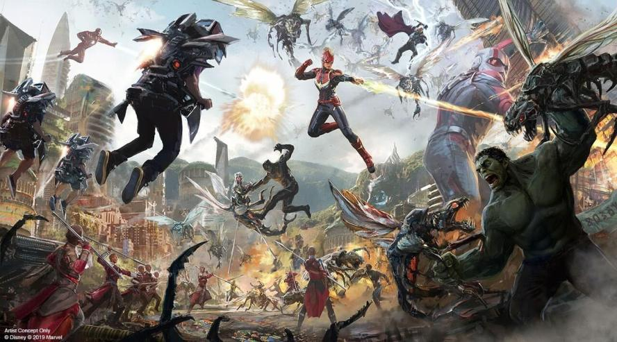 Avengers Campus Attraction at Disneyland battle concept art