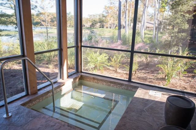 Hot tub view at the Wilderness Lodge DVC Villas