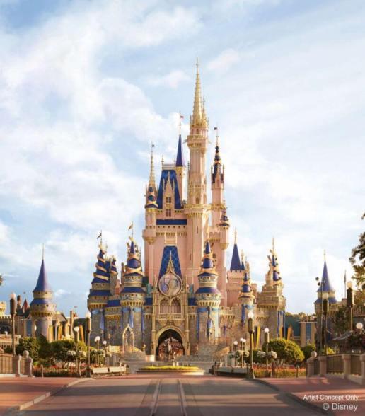 Reimagined Cinderella Castle artist rendition for Walt Disney World's 50th Anniversary