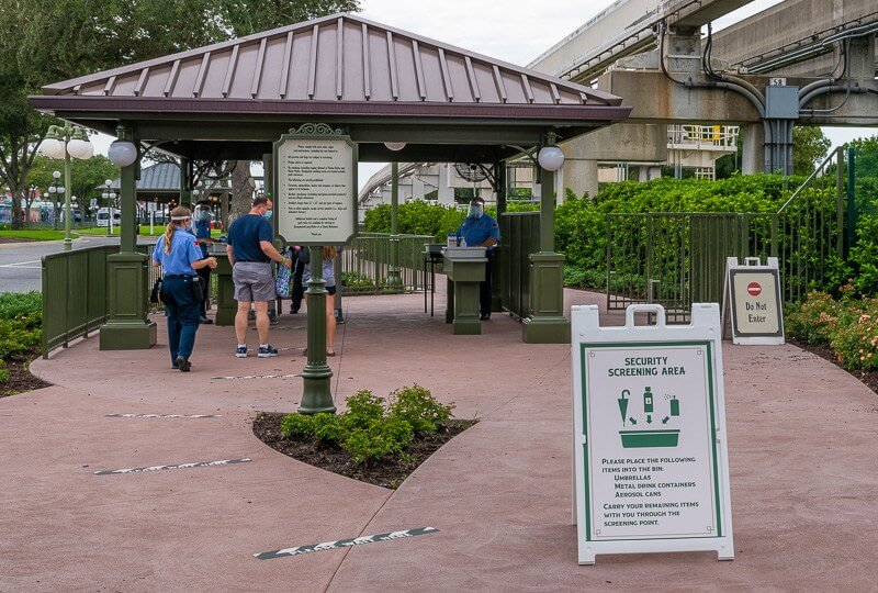 Screening area at the entrance to Walt Disney World