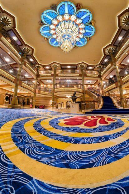Inside a Disney Cruise ship lobby