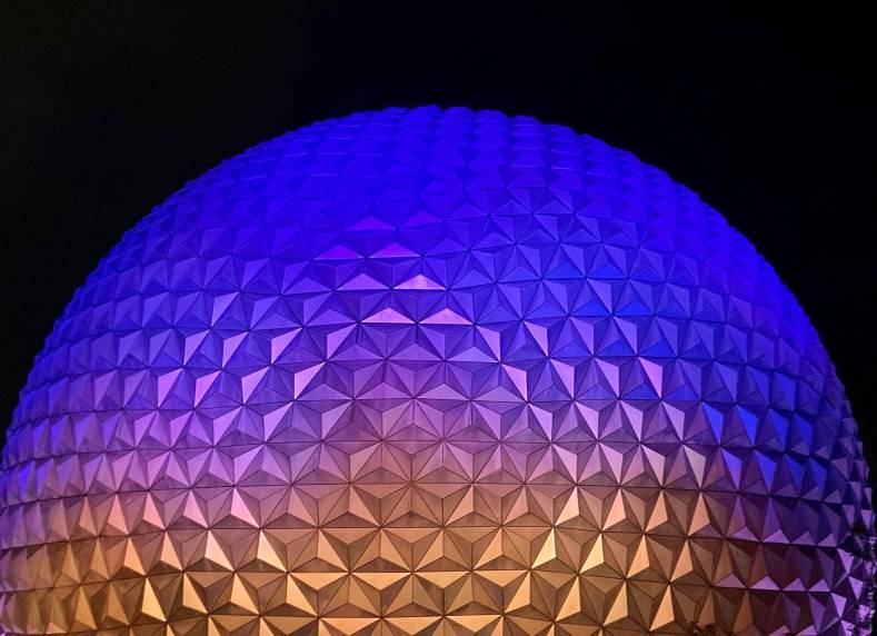 Disney's Epcot lit up at night