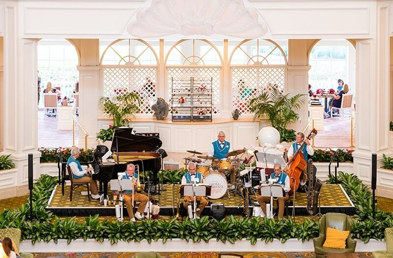 The Grand Floridian Society Orchestra gathered in the hotel lobby