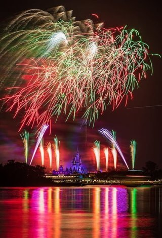 Fireworks exploding in the sky above the disney world castle