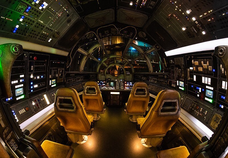 Cockpit view inside the Millennium Falcon at Disney's Star Wars Land