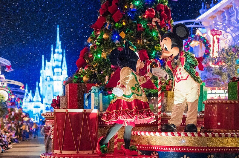 Float with Minnie and Mickey at Mickey's Upon a Christmastime Parade