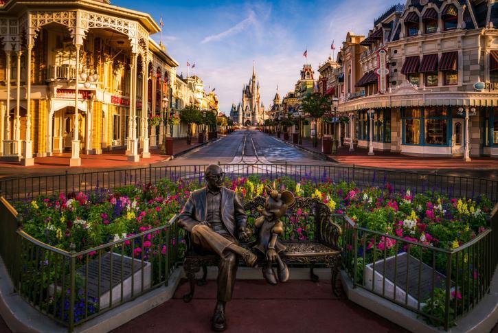 Sharing statue empty pre park opening at Magic Kingdom Disney World