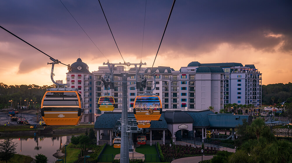 Disney Skyliner gondolas aerial view