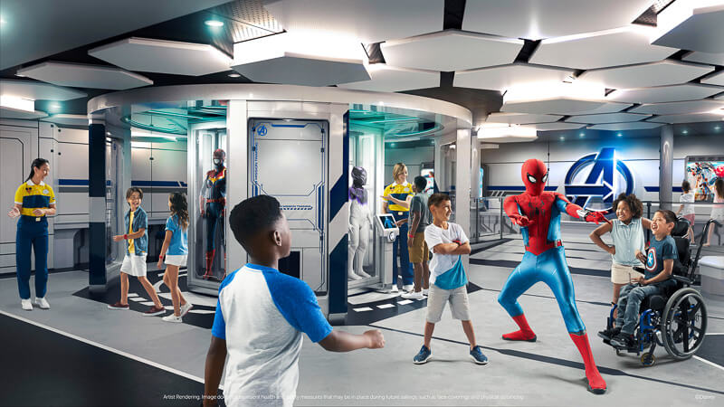 Kids playing with Spiderman at a Marvel Avengers event at Disney.