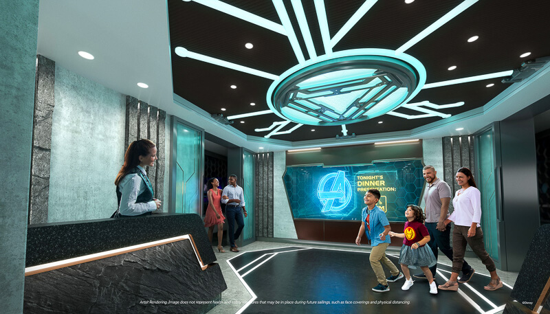 Family and couple attending an Avengers themed dining experience at a Disney Cruise Line.
