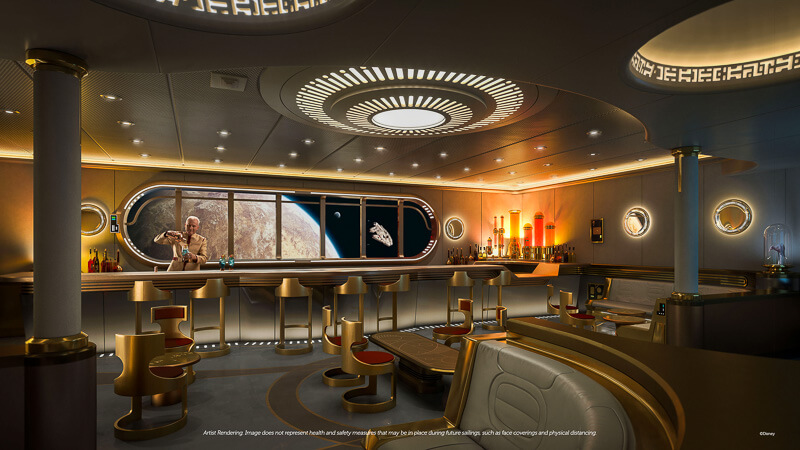 The futuristic Hyperspace lounge with a window display of famous interstellar landscapes from the Star Wars universe.