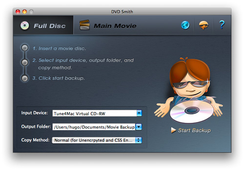 DVDSmith Movie Backup for Mac interface