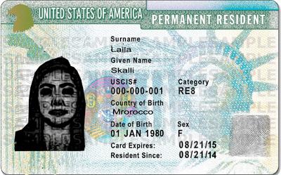 green card Arrivée aux USA :