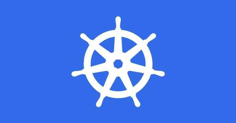Kubernetes Logo on Blue Background