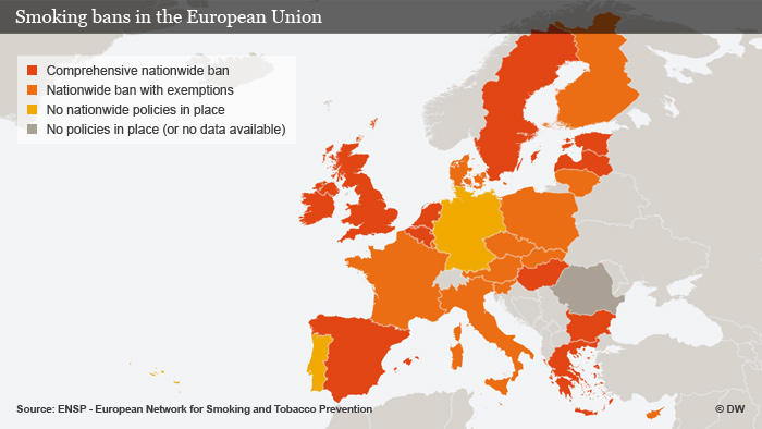 Graphic showing smoking bans in the European Union