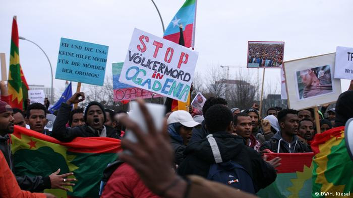 Activists in Berlin have protested the Ethiopian government's response to the Oromo protests