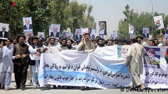 In Kandahar demonstrierten die Befürworter der Stromtrasse über den Salang (Foto:DW)