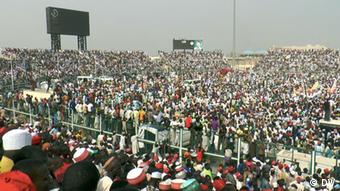 Thousands of Nigerian's packed into a stadium